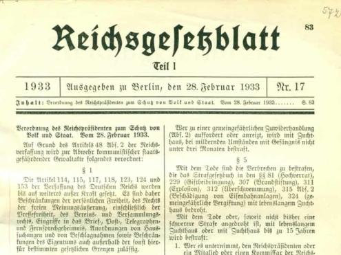 """""""Reichstagsbrandverordnung"""", Quelle: Reichsgesetzblatt, 28. Februar 1933"""